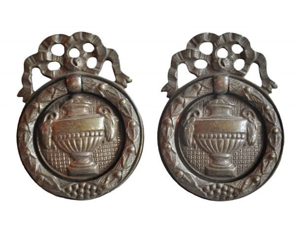Cabinet & Furniture Pulls - Pair of Victorian Brass Urn Ring Pulls