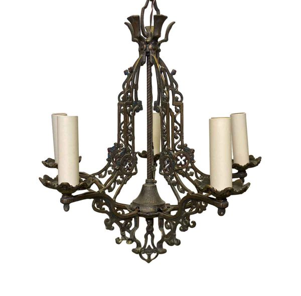 Chandeliers - Restored Arts & Crafts Gothic 5 Arm Bronze Chandelier