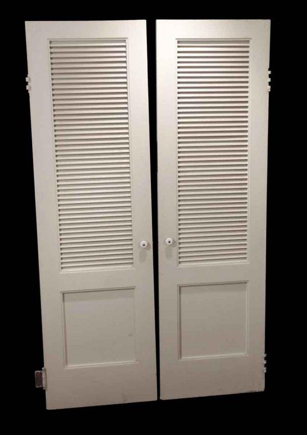 Closet Doors - Vintage 1 Pane Louver Wood Closet Double Doors 79.5 x 47