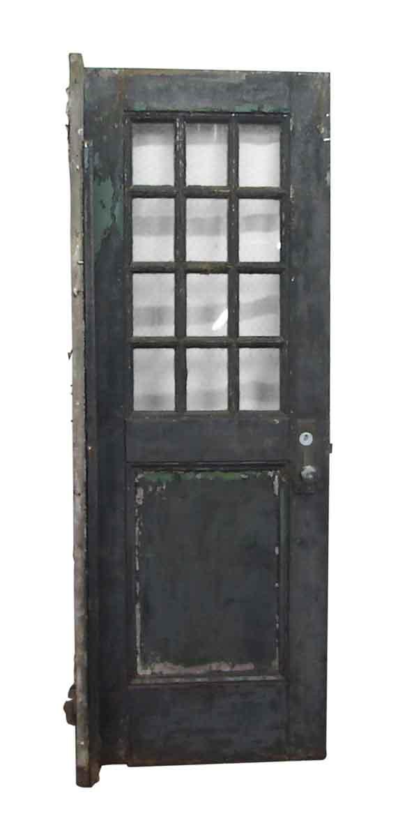 Commercial Doors - Antique 12 Lite Chicken Wire Glass Metal Door 83.75 x 29.75