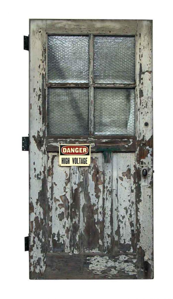 Commercial Doors - Antique 4 Chicken Wire Glass Lite Wood Door 83 x 39.75