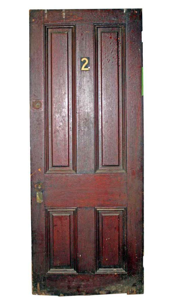 Commercial Doors - Antique 4 Pane Wood Apartment Door 76.5 x 29.25