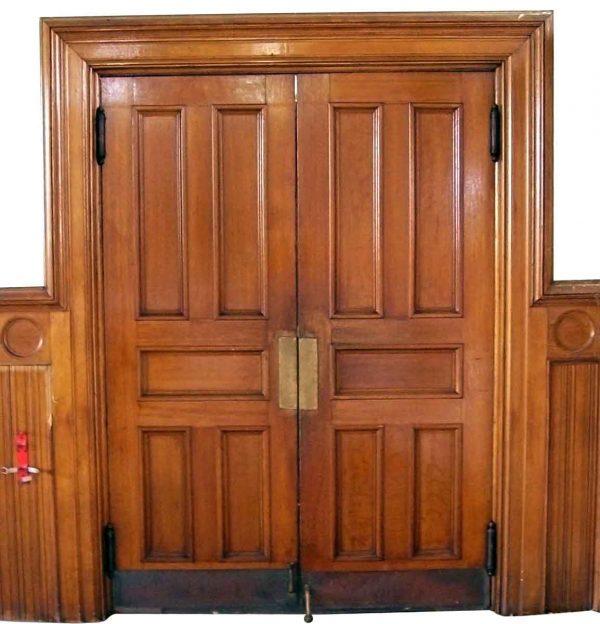 Commercial Doors - Antique 5 Pane Oak Swinging Double Doors 83.75 x 60.5