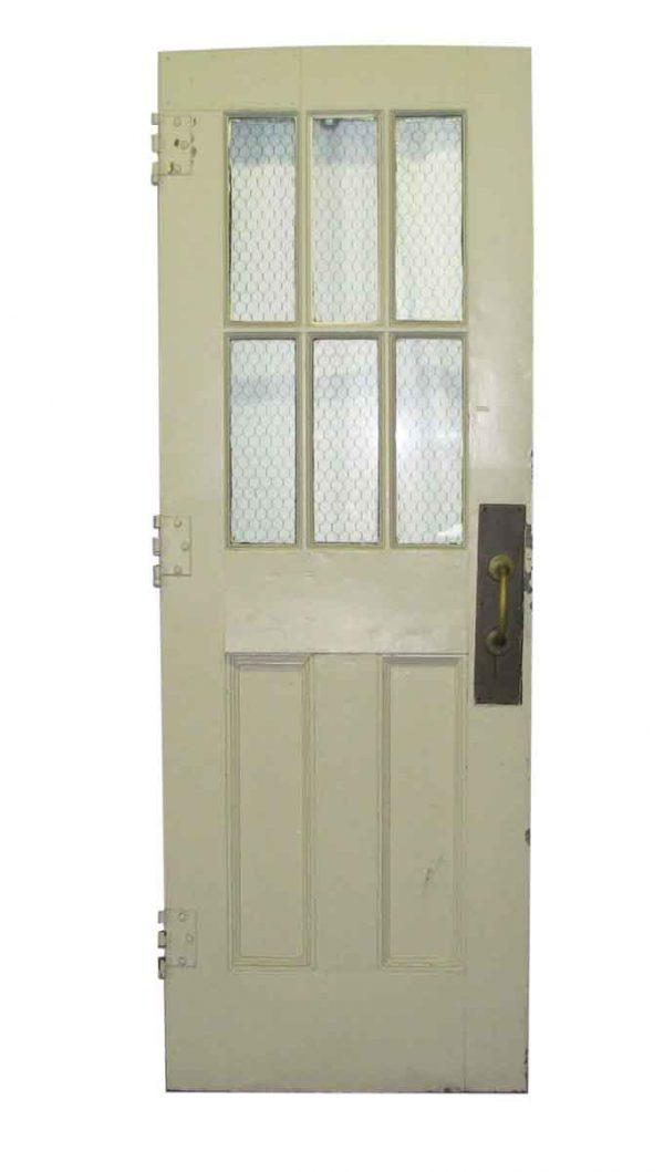 Commercial Doors - Antique 6 Chicken Wire Lite Metal Swinging Door 79.5 x 27.5