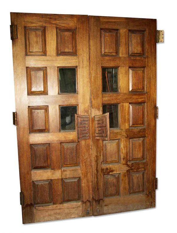 Commercial Doors - Antique 8 Pane 2 Lite Wood Swinging Double Doors 102 x 60