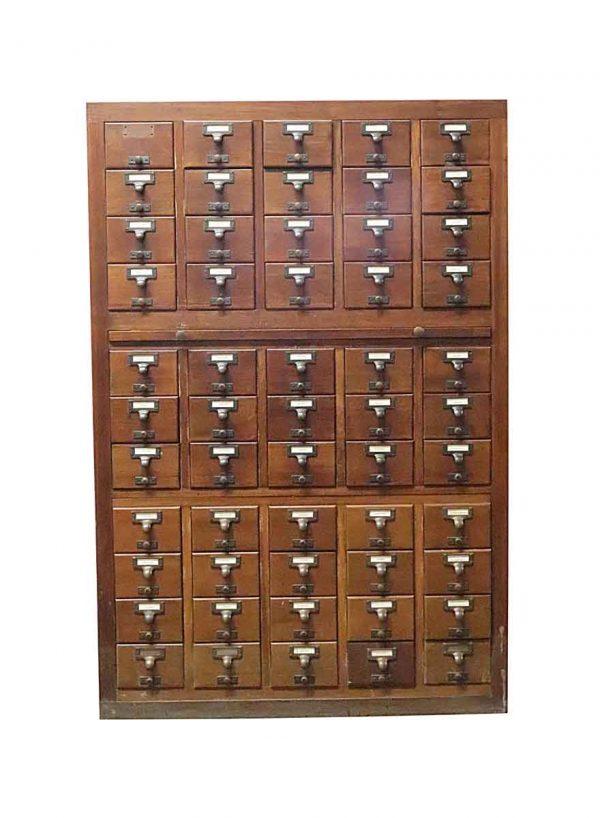 Commercial Furniture - Vintage 55 Drawer Dark Mahogany Card Catalog Cabinet
