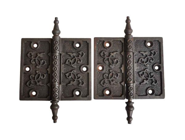 Door Hinges - Pair of Antique Victorian 4 x 4.5 Cast Iron Door Hinges