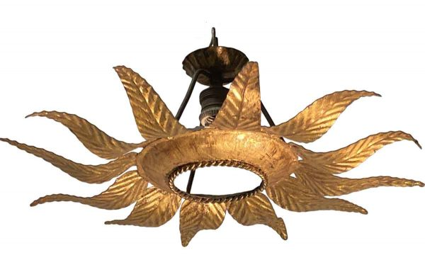 Down Lights - French Country Gold Leaf Star Burst Pendant Light