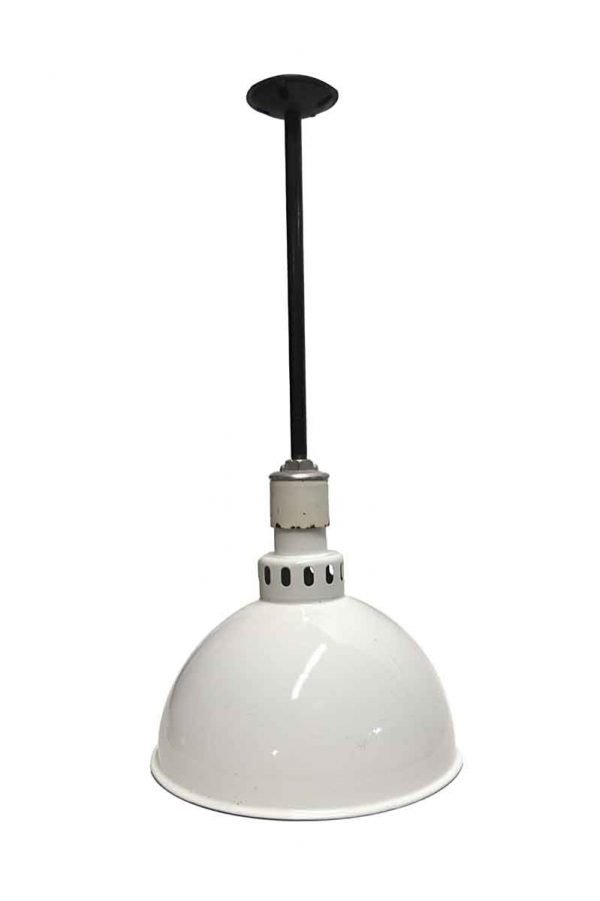 Down Lights - Industrial White Enameled Steel Industrial Pendant Light