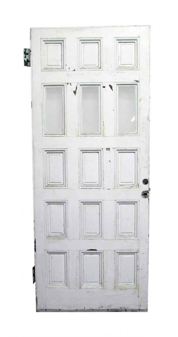 Entry Doors - Antique 12 Pane 3 Lite Wood Entry Door 82.5 x 33.5