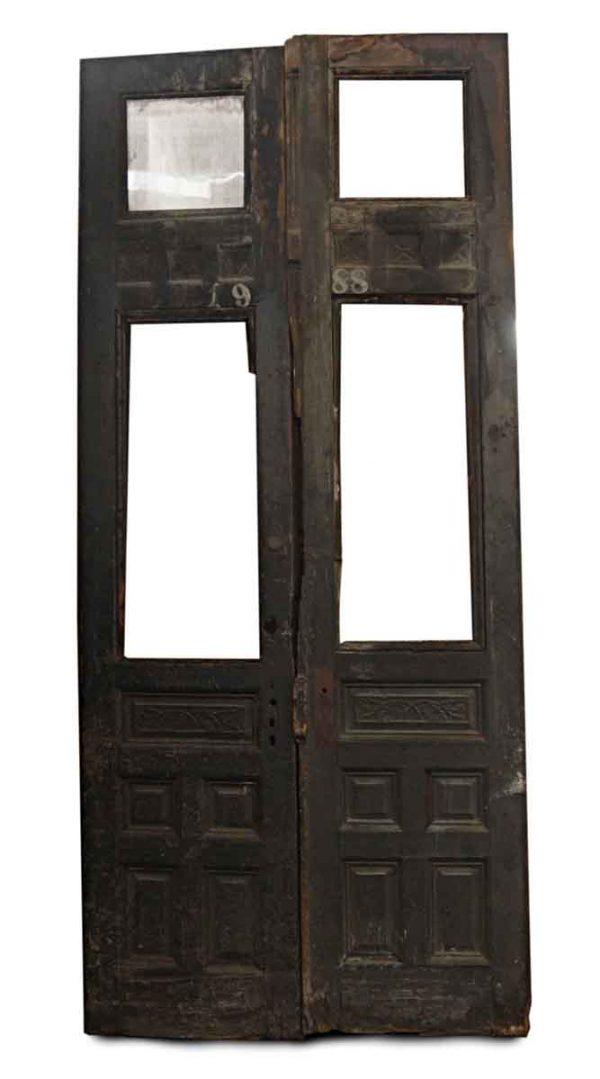 Entry Doors - Antique 2 Lites 5 Pane Wood Entry Double Doors 119 x 52