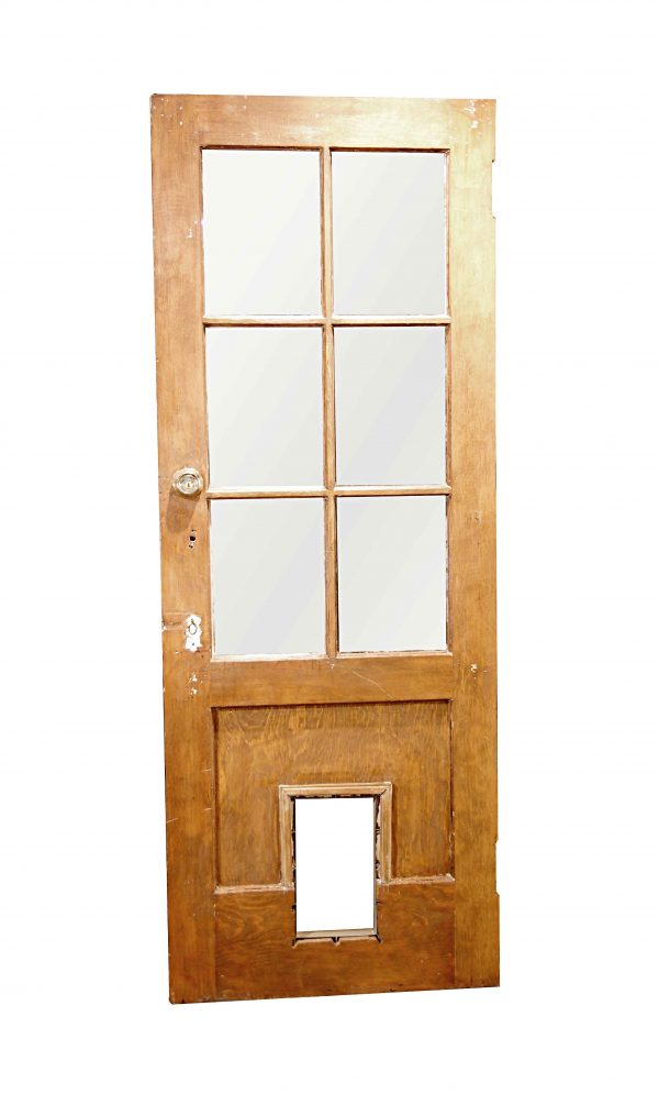 Entry Doors - Vintage 6 Lite Wood Entry Door with Pet Door 78.5 x 29.75