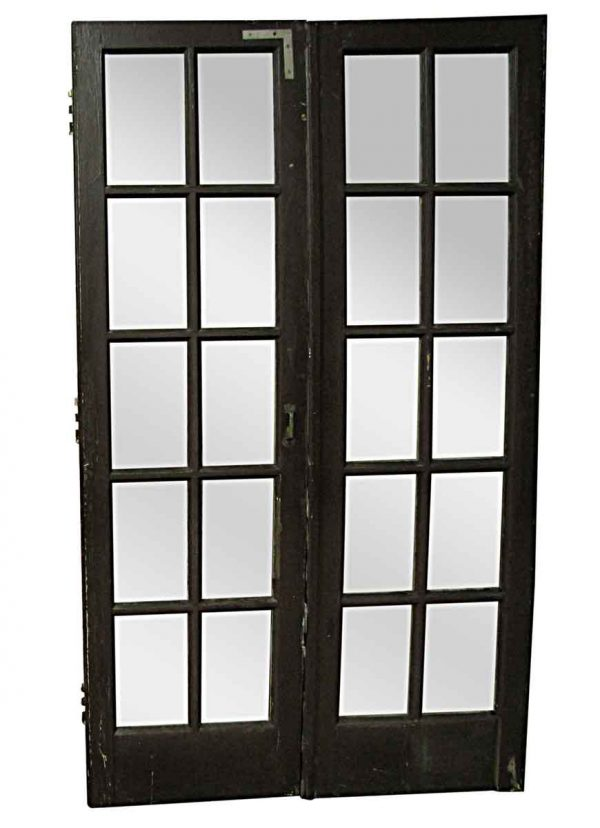 French Doors - Antique 10 Lite Glass Wood French Double Doors 84 x 48
