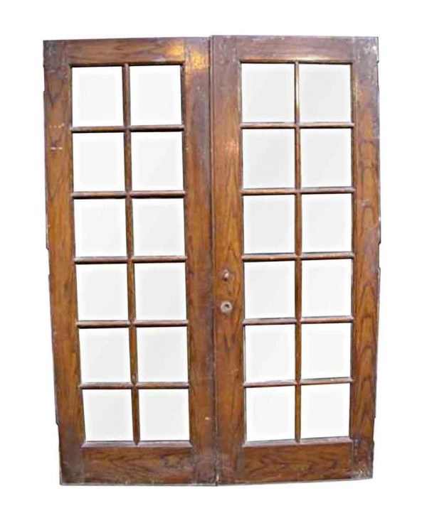 French Doors - Antique 12 Lites Cypress French Double Doors 88.5 x 64