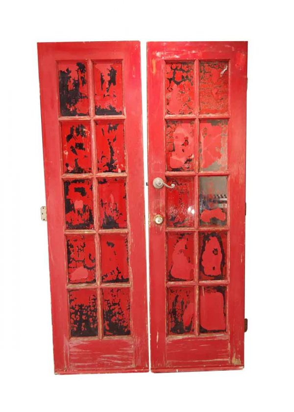 French Doors - Vintage 10 Lite Red French Double Doors 80 x 47.75