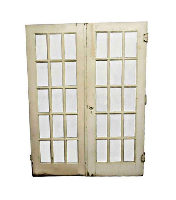 French Doors - Vintage 15 Lites French Double Doors 80 x 60