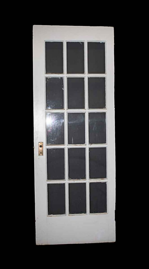 French Doors - Vintage 15 Lites White Wood French Door 82.25 x 30.5