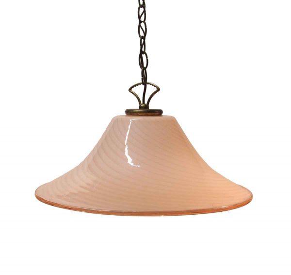 Globes & Shades - 1970s Murano Glass Pink Swirl Pendant Light