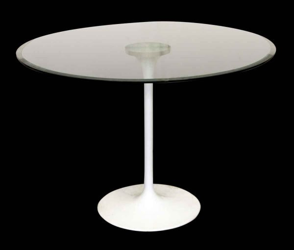 Kitchen & Dining - Vintage 39 in. Round Glass Top White Base Table