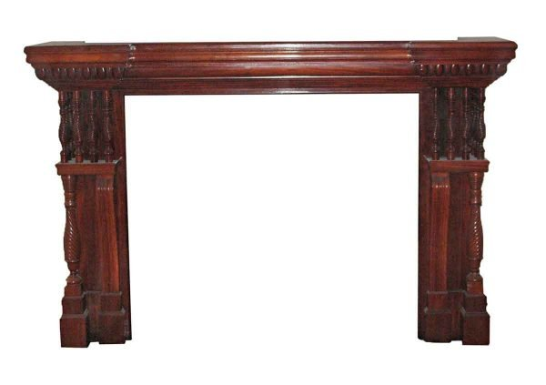 Mantels - Heavily Carved Mahogany Mantel