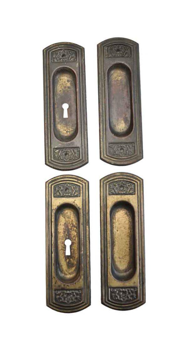 Pocket Door Hardware - Victorian Brass Over Steel Pocket Double Door Plate Set