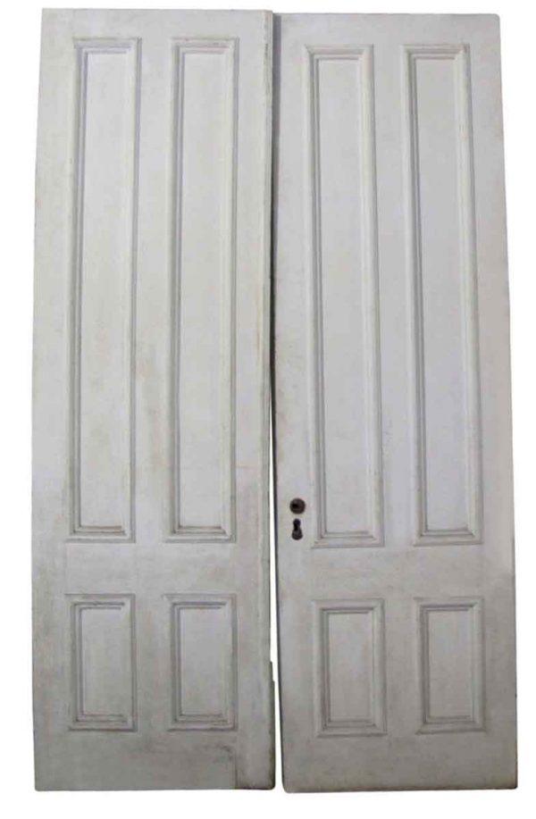 Pocket Doors - Antique 4 Pane Pine Pocket Double Doors 100 x 60