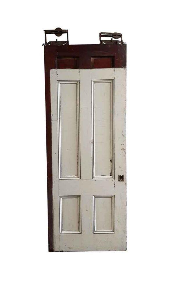 Pocket Doors - Antique 6 Pane Wood Pocket Door 88.75 x 34.75