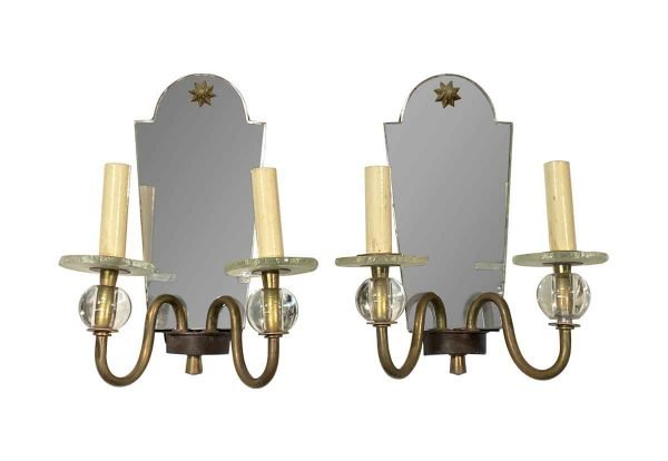 Sconces & Wall Lighting - 1910s French Star Motif Mirrored Art Deco Wall Sconces