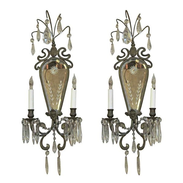 Sconces & Wall Lighting - 1930s Pair of Bronze & Etched Mirror Wall Sconces