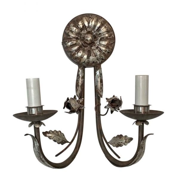 Sconces & Wall Lighting - Florentine Silver Gilt Wrought Iron 2 Arm Wall Sconce