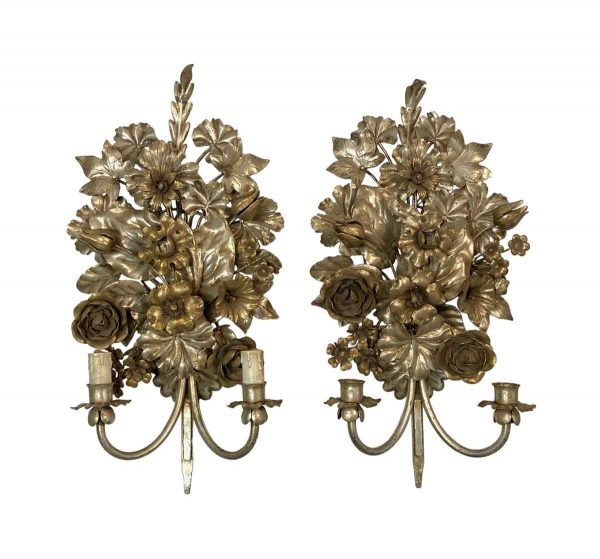 Sconces & Wall Lighting - Hollywood Regency Italian Silver Gilt Wall Sconces