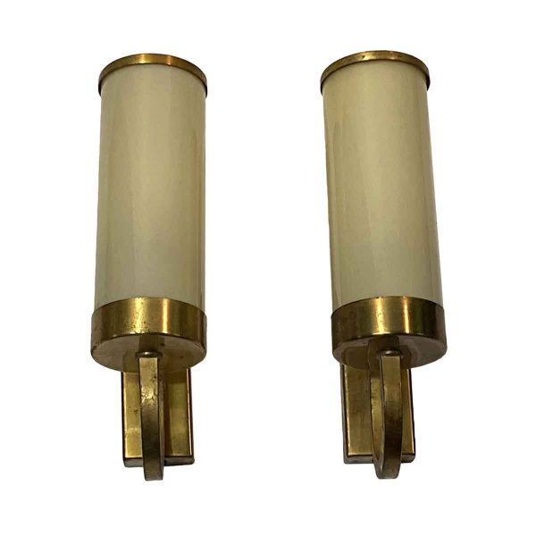 Sconces & Wall Lighting - Pair of Art Deco Steel & Glass Cylinder Sconces