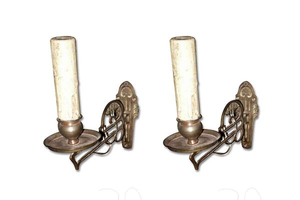 Sconces & Wall Lighting - Pair of Art Nouveau Bronze Piano Sconces