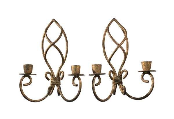 Sconces & Wall Lighting - Pair of Double Arm French Wrought Iron Candle Sconces