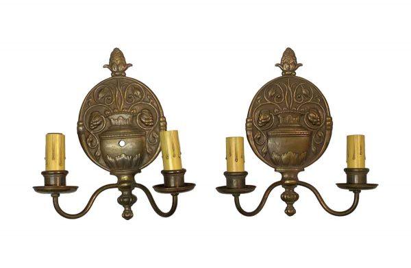 Sconces & Wall Lighting - Pair of Georgian Cast Bronze 2 Arm Wall Sconces