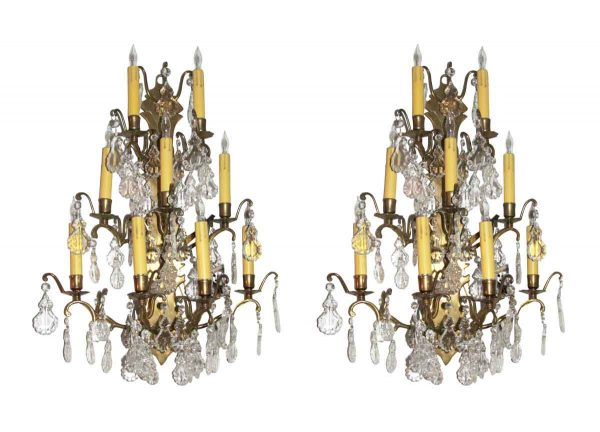 Sconces & Wall Lighting - Pair of Plaza Hotel French Crystal Sconces