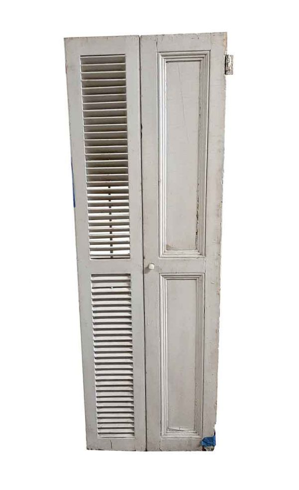 Shutters - Pair of Tall White Wood Shutters