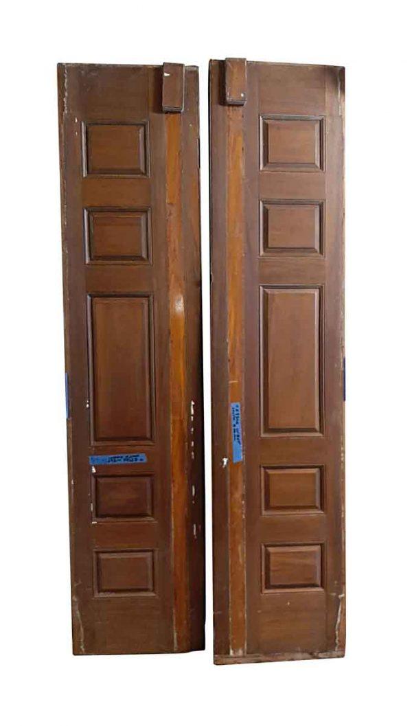 Specialty Doors - Pair of Antique 5 Pane Wood Panel Doors