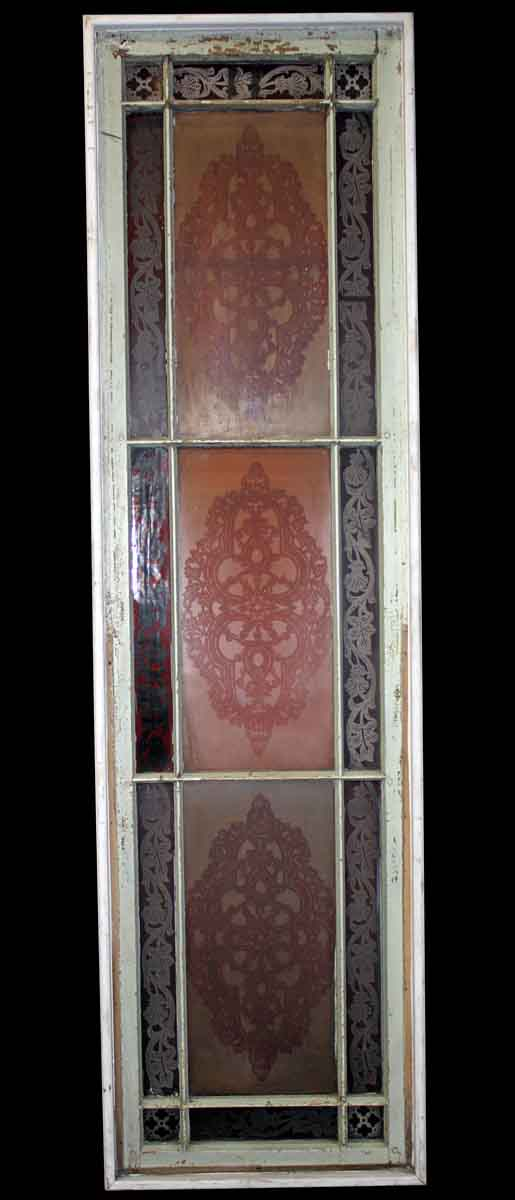 Stained Glass - Reclaimed Etched & Acid Stained Glass Window 81.5 x 22.75