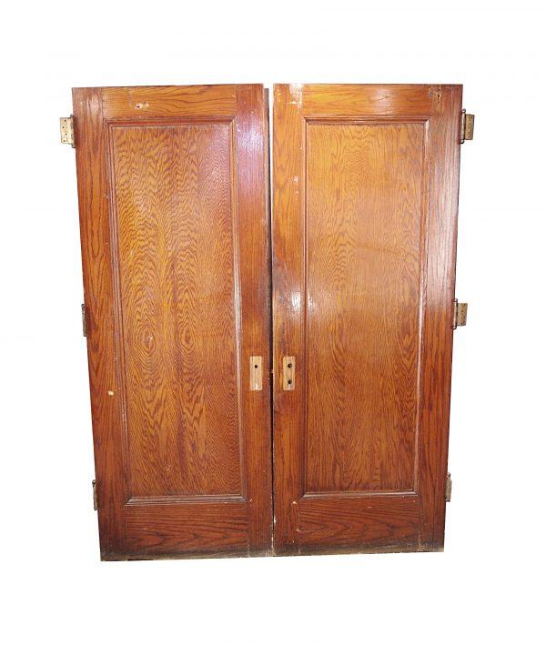 Standard Doors - Antique 1 Pane Oak Wood Double Doors 83 x 62.625