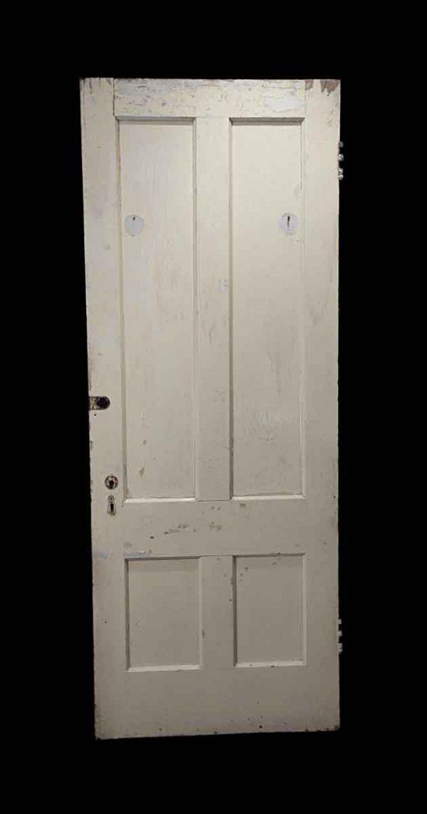 Standard Doors - Antique 4 Pane White Wood Privacy Door 77 x 29.75