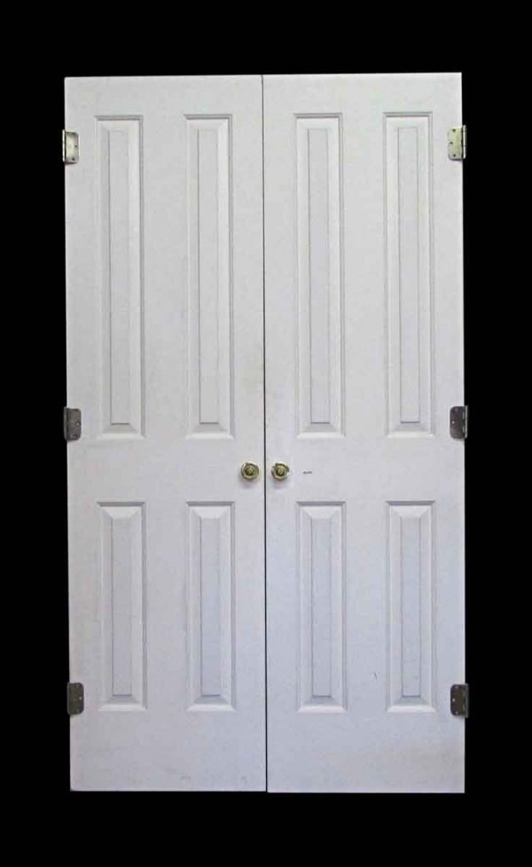 Standard Doors - Vintage 4 Pane White Wood Double Doors 80 x 44