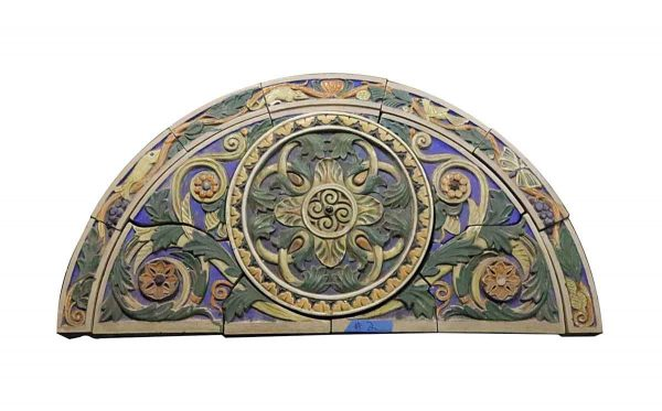 Stone & Terra Cotta - Judaic Polychrome Terra Cotta Arched Frieze with Floral Medallion from Synagogue