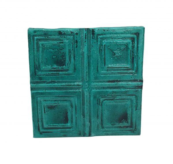 Tin Panels - Antique Teal Squares Tin Panel
