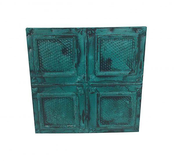 Tin Panels - Antique Textured Teal Squares Tin Panel