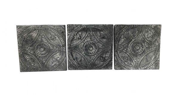 Tin Panels - Antique Washed Black Wagon Wheel Tin Panel Set