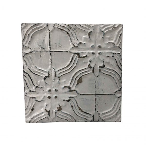 Tin Panels - Antique White Cross Flower Tin Panel