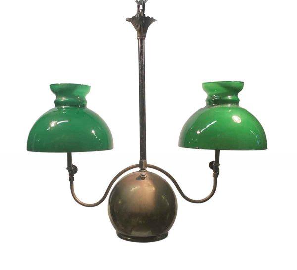 Wall & Ceiling Lanterns - 19th Century Converted Green Glass & Brass Oil Lantern
