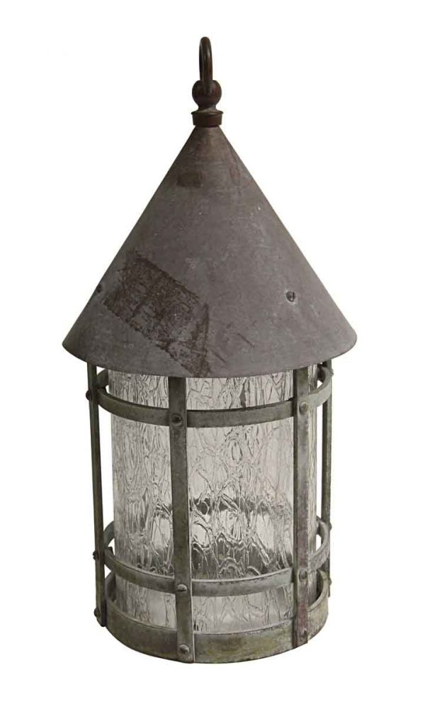 Wall & Ceiling Lanterns - Arts & Crafts Hanging Lantern with Textured Glass