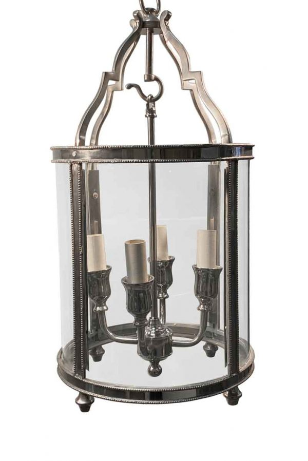 Wall & Ceiling Lanterns - Traditional Nickel Finish Brass Cylinder Ceiling Lantern